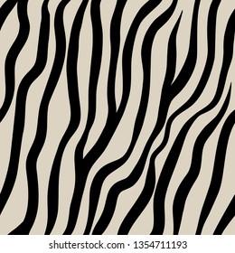 Zebra seamless pattern. Black hand drawn stripes on a beige background.