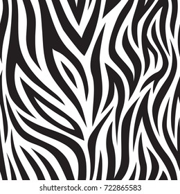 Zebra seamless pattern. Black and white tiger stripes. Popular texture. Vector illustration.