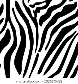 Zebra seamless pattern. Vector texture of wild animal skin. Black and white stripes. Zoo illustration.