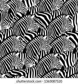 Zebra seamless pattern. Wild animal texture. Striped black and white. design trendy fabric texture, vector illustration.