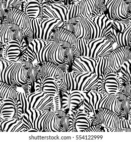Zebra seamless pattern.Savannah Animal ornament. Wild animal texture. Striped black and white. design trendy fabric texture, illustration.