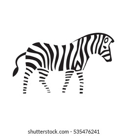 Zebra silhouette on the white background striped