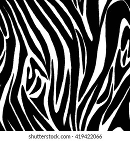 Zebra skin seamless pattern. Animal fur.