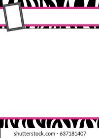Zebra stripe black and pink frame