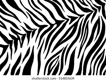 Zebra stripes, animal skin, tiger print, abstract ink pattern, line background, fabric. Amazing hand drawn vector illustration, artwork. Poster, banner. Black and white, monochrome