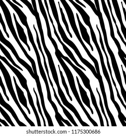 Zebra Stripes Seamless Pattern. Zebra print, animal skin, tiger stripes, abstract pattern, line background, fabric. Amazing hand drawn vector illustration. Poster, banner. Black and white artwork