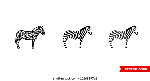 Zebra symbol icon of 3 types: color, black and white, outline. Isolated vector sign symbol.