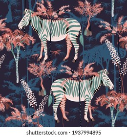 Zebra in tropical jungle seamless vector pattern. Square design for fabric, wallpaper, wrapping paper, scrapbook paper, invitation card. Dark blue, white, black and pink colors.