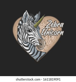 zebra unicorn love cartoon beautiful animal