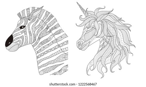 Zebra and unicorn zentangle stylize for print and coloring book for anti stress.Vector illustration
