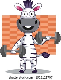 Zebra with weights, illustration, vector on white background.