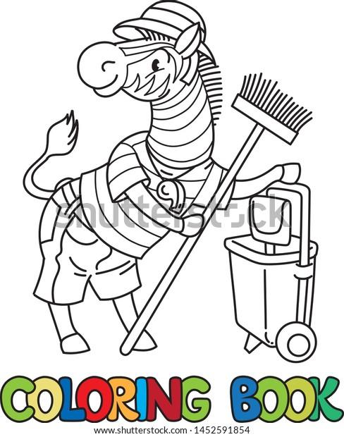 Zebra Zoo Keeper Coloring Book Animal Stock Vector Royalty