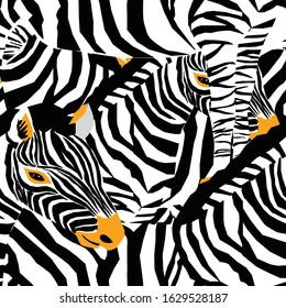 Zebra's seamless pattern. Vector illustration of zebras stripes