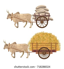 Zebu bull pulling a loaded cart with sacks and hay. Vector illustration