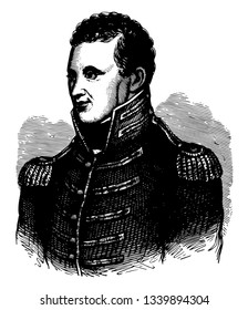 Zebulon Montgomery Pike 1779 to 1813 he was an American brigadier general and explorer vintage line drawing or engraving illustration