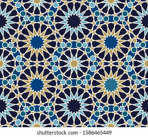 Zellige mosaic. Islamic seamless tile texture, arabic ornament.