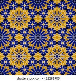 Zellige tile. Moroccan seamless pattern. Razil Moorish background. Islamic texture.