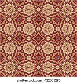 Zellige tile. Moroccan seamless pattern. Razil Moorish background. Islamic texture. Oriental decor. Islamic culture.