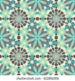 Zellige tile. Moroccan seamless pattern. Razil Moorish background. Islamic texture. Celadon abstract.
