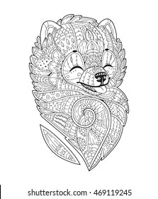 Zen art stylized Dog. Vector hand drawn pom. Pomeranian spitz. Adult antistress coloring page. Zendoodle sketch for T-shirt print, logo, tattoo. Black isolated illustration on white background.