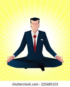 Zen business man guru vector illustration
