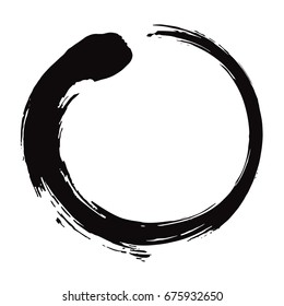 Zen Circle Brush Black Ink Vector Illustration