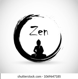 Zen circle with meditation Buddha vector