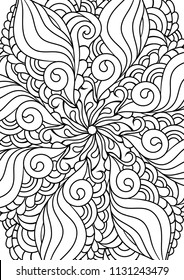 Zen doodle adult coloring page. Indian paisley  style illustration. Zentangle inspired artwork. Henna mehndi ornaments.