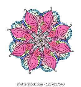 Zen doodle art vector mandala illustration with indian, asian and arabic motives. Adult coloring book style yoga and wellness boho decoration.