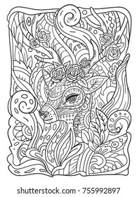 Zen Doodle Coloring Page For Adults With Deer Roses Vector Illustration On White Background