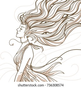 Zen doodle monochrome vector art of woman in side view isolated on white background. Artistic illustration of demon female creature with horn and eyes hidden in the long curly hairs.