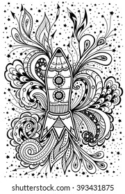 Zen doodle or  Zen tangle rocket in space black on white  for coloring page or relax coloring book or wallpaper or for decorate package clothes  or different things or for celebrate cosmonautics day