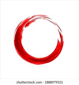 Zen Enso Symbol. Hand Drawn Red Enso Zen Circle.  Logo, Emblem Design. Brush Drawn Buddhist Sign. Fine Art Element.Stroke Hand Painted Brush Stroke Circle.Chinese Oriental Circle. Enso Vector Symbol.