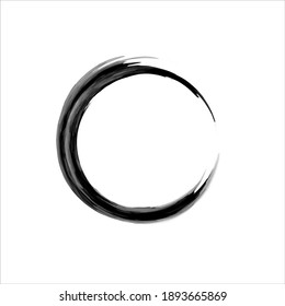 Zen Enso Symbol. Ink Painted Enso Zen Circle. Logo, Emblem Design. Brush Drawn Buddhist Sign. Fine Art Element. Stroke Round Shape. Original Freestyle Ring. Enso Vector Symbol.