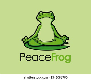 Zen Frog Character Mascot yoga logo vector
