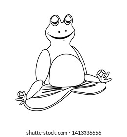 Zen frog does yoga in lotus position with fingers folded