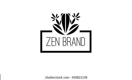Zen frog vector logo template
