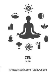Zen icon. Buddhism, zen philosophy, circle composition