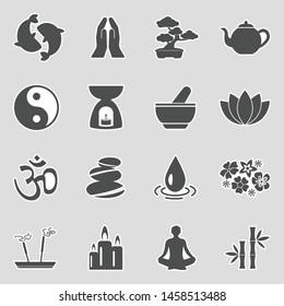 Zen Icons. Sticker Design. Vector Illustration.