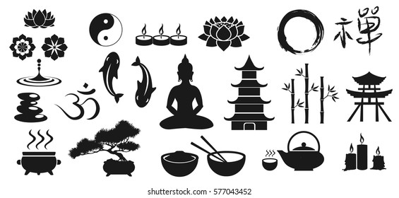 "Zen icons, vector illustration of main buddhistic symbols. It contains the Chinese character that means ""Zen"" and the Sanskrit character, which means ""the syllable Om"""