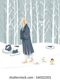 Zen monk walking slowly. He is practicing walking meditation (Kinhin). He is in a winter landscape covered with snow ,but their attitude is contemplative and serene.