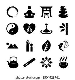 zen solid icons vector design