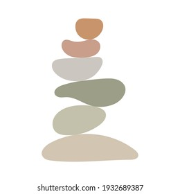 Zen stones simple abstract vector illustration in flat style, relax, meditation and yoga concept, boho colors stone pyramid for making banners, posters, cards, prints, wall art