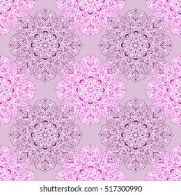 Zen tangle mandala seamless pattern. Hand drawn vector illustration for adult anti stress coloring pages, books, art therapy,  logo, t-shirt print. Template for fabric design with mehndi elements