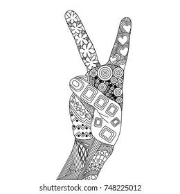 Zen Tangle Peace. Zen Tangle Hand. Peace of Doodle Elements