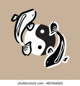 Zen and Tao balance logo of black and white fishes
