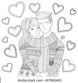 Zendoodle design of a couple holding each other showing love for adult coloring book pages and Valentine's card
