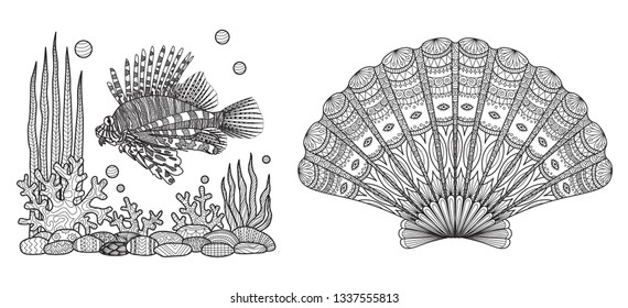 Zendoodle design of Lion fish swimming and beautiful coral and sea shell collection for adult coloring book pages. Vector illustration.