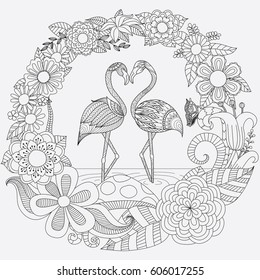 Coloring Page Flamingo Hd Stock Images Shutterstock