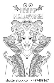 Zendoodle design of vampire girl with the text 'Happy Halloween' ,bat wings and spooky eyes for adult coloring,Halloween invitation card and poster
